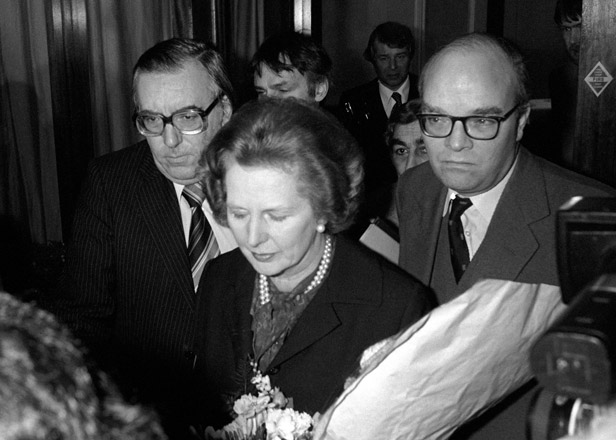 Margaret Thatcher leaves the Imperial Hotel in London after breaking down in tears in concern for her missing son.