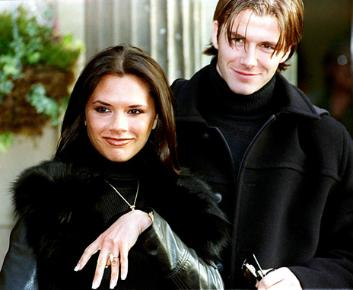 The Beckhams on their engagement
