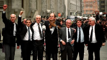 The Birmingham Six with campaigner Chris Mullins (centre) after the Court of Appeal confirmed their freedom.
