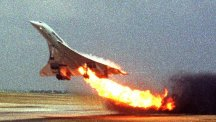 The doomed Concorde takes off at Charles de Gaulle airport with a fire raging in its engine.