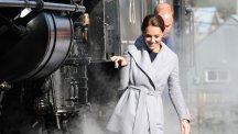 The Duke and Duchess of Cambridge with a steam train