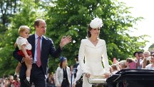 The Duke and Duchess of Cambridge with Prince George and Princess Charlotte at her christening