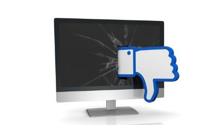 Facebook dislike smashing through screen