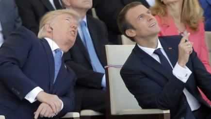 French military band performs incredible Daft Punk medley for Trump and Macron
