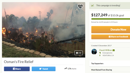 The internet raised more than $100,000 for this YouTuber who lost his home in California wildfires