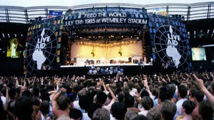 The Live Aid stage at Wembley Stadium.