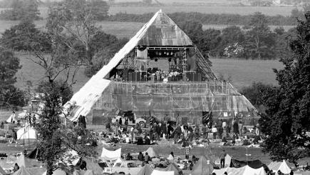 The Pyramid Stage at an early Glastonbury festival
