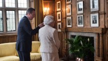 The Queen is shown around Chequers by David Cameron during a visit in February 2014