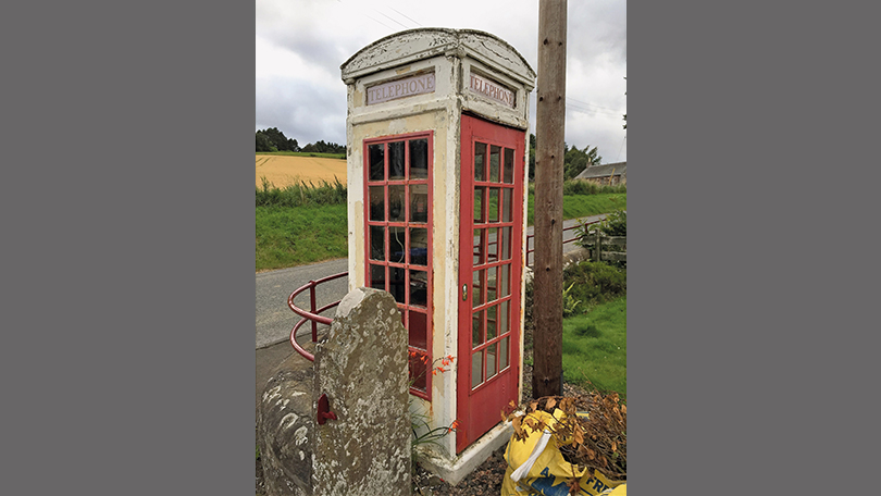 The surviving K3 kiosk in the hamlet of Rhynd in Scotland. (Andrew Lee)