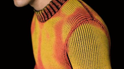 This autumnal-looking sweater changes colour in different weather