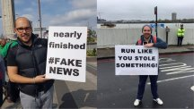 This man is winning the marathon sign game