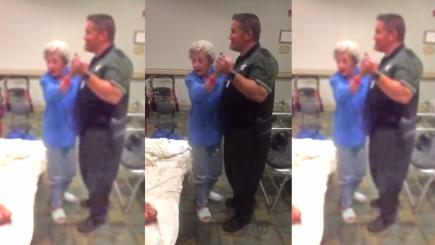 This police officer sung and danced with an elderly woman to soothe her during Hurricane Irma