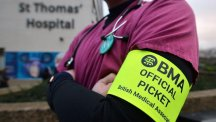 A picket line outside St Thomas' Hospital in London as junior doctors go on strike for 24 hours in a dispute with the government over new contracts.