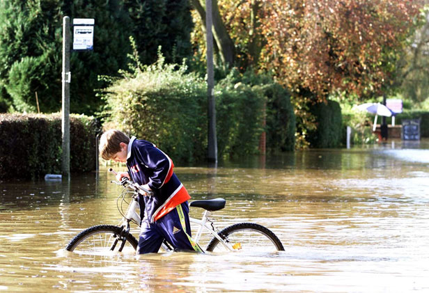 Local residents brave the floods in York.