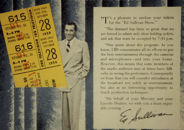 A ticket stub for Elvis's second appearance on the Ed Sullivan Show fetched $19,000 (£10,800) when auctioned in 2006.