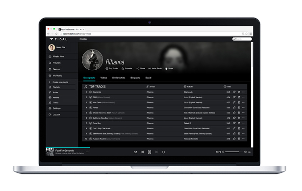 Tidal on laptop