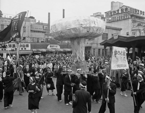 Protesters demonstrate against the forthcoming British H-bomb tests in Tokyo on May 1, 1957.