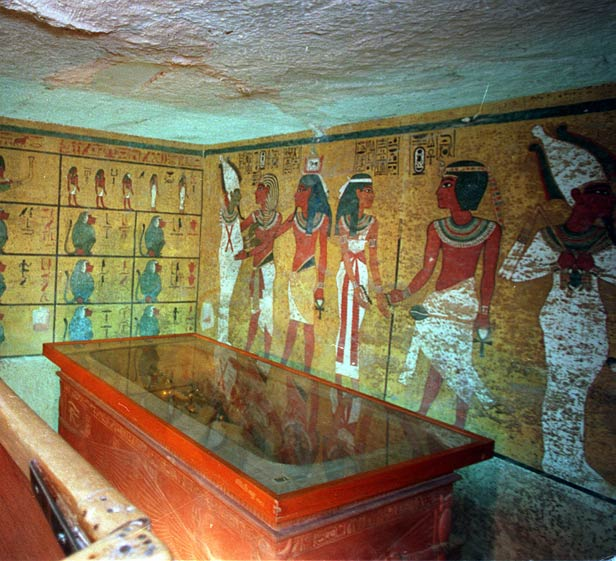 Inside the tomb of Tutankhamen.