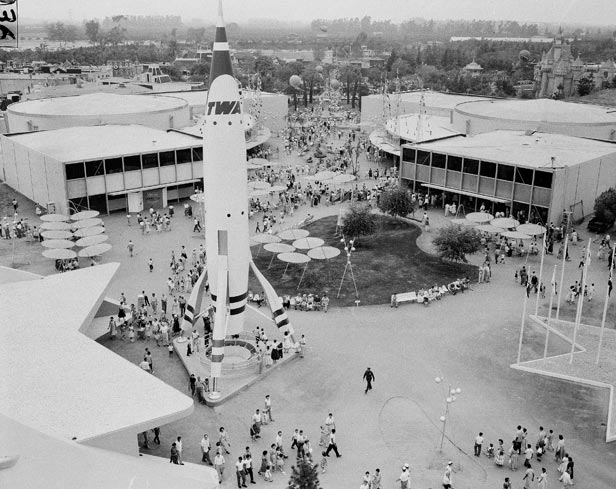 The TWA Moonliner rocketship dominated the Tomorrowland attraction at the Disneyland amusement park.