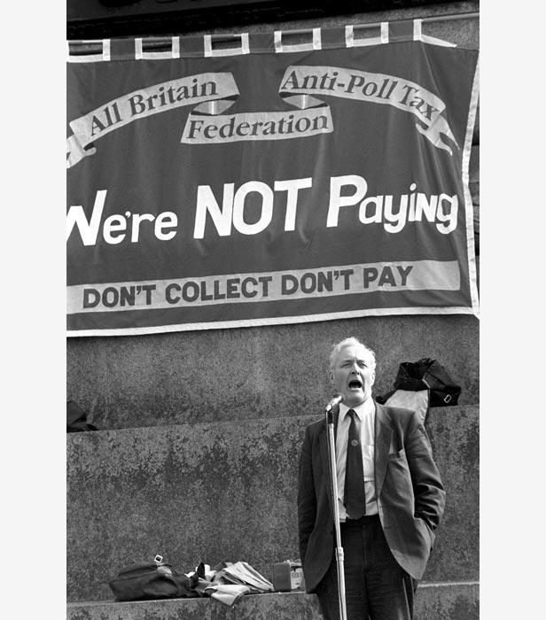 Labour MP Tony Benn addresses the massive crowd in Trafalgar Square.