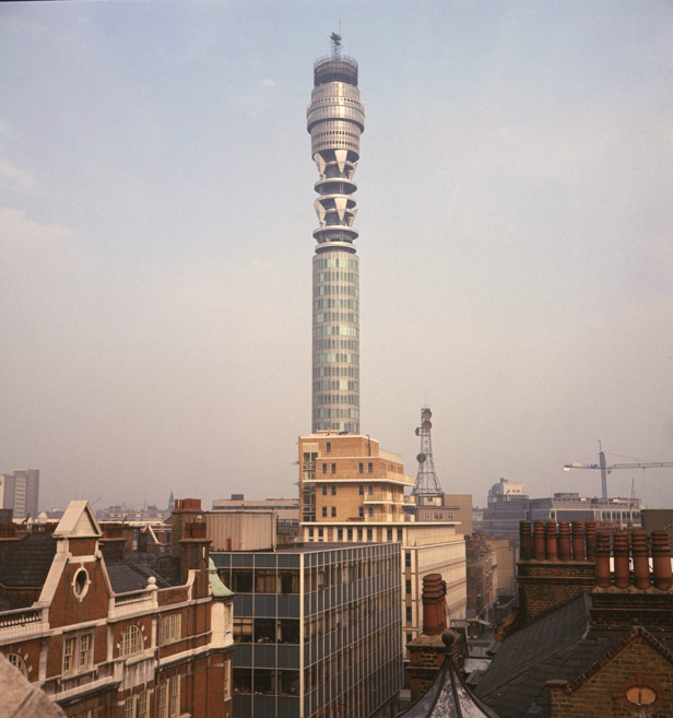 The Post Office Tower a few days before its grand opening in October 1965.