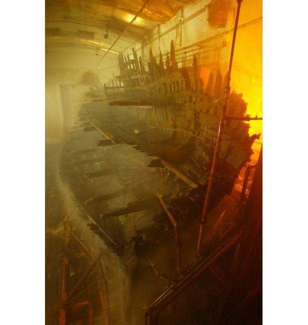 The hull of the Mary Rose during its lengthy preservation process.