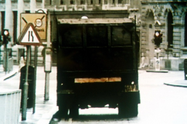 The stolen tipper truck in which the bomb was hidden (Photo credit: ITN).