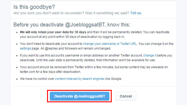Deactivate your Twitter account