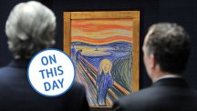 Two auctioneers from Sotheby's look at The Scream prior to the 2004 auction (REX)