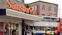 A double decker bus crashed into a branch of Sainsbury's in Coventry (@Haroon_Mota/PA)