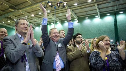 Ukip leader Nigel Farage and party members celebrate as candidate Mark Reckless is announced the winner the Rochester and Strood by-election