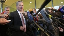EU energy commissioner Guenther Oettinger addresses the media at the European Commission headquarters in Brussels (AP)