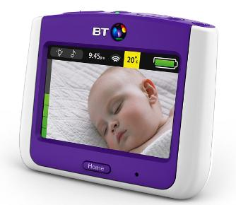 White and purple baby monitor with baby sleeping