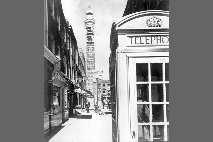 View of Post Office Tower from Rathbone Street, London, 1969.