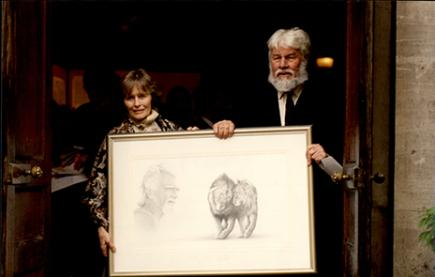 Virginia McKenna and Bill Travers at George Adamson's memorial service in 1994