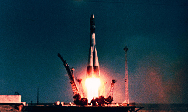 Yuri Gagarin's Vostok spaceship blasts off from Kazakhstan