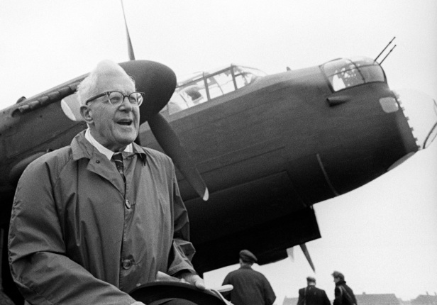 Barnes Wallis, pictured in 1967 with one of the Lancaster Bombers that carried out the Dambusters raid.
