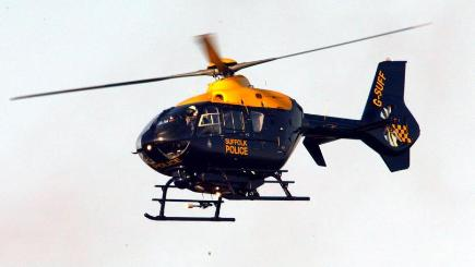 A police helicopter joined the search for the missing man