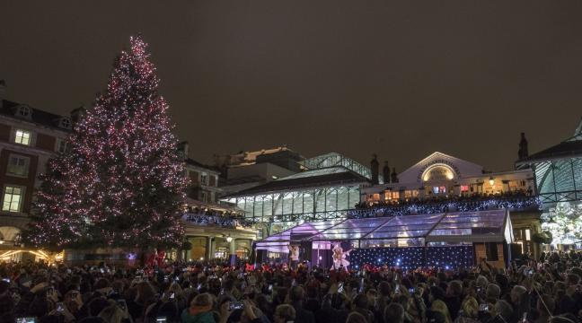 watch as the giant christmas tree in covent garden is lit up - Giant Christmas Tree
