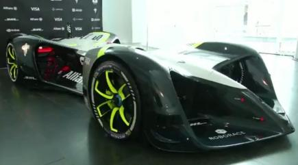 Watch the world's first driverless electric racing car take to the track