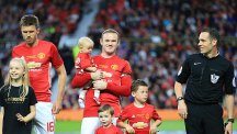 Wayne Rooney with his sons Kit, Klay and Kai