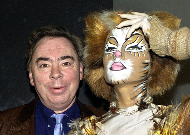 Andrew Lloyd Webber with a Cats cast member