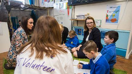 Welsh Cabinet Secretary of Education Kirsty Williams at Cadoxton Primary School talking to children for the Launch of Barefoot Computing, supported by BT