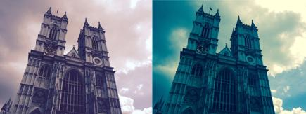 Two pictures of Westminster Abbey with different camera filters