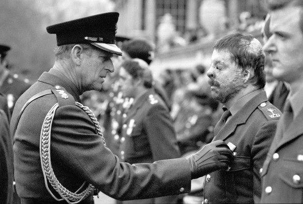 Simon Weston receives his South Atlantic Medal from the Duke of Edinburgh in December 1982.