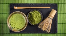 Matcha and utensils used in a tea ceremony.