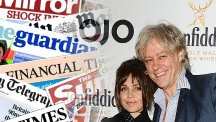 Sir Bob Geldof and Jeanne Marine and the front pages from today's papers