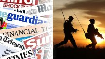 Composite image of newspaper headlines merged with file photo dated 16/2/2015 of British soldiers on patrol