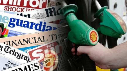 Petrol pumps and the front pages from today's papers