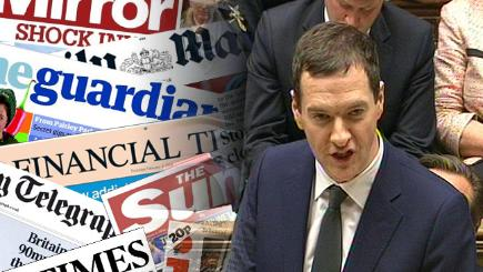 George Osborne and the front pages from today's papers